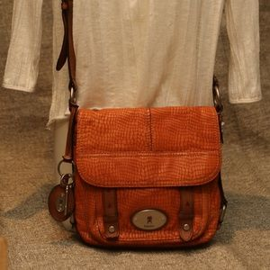 Fossil Embossed Leather Crossbody Purse